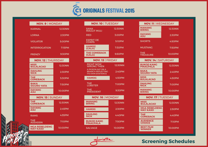 Cinema One Originals 2015 glorietta schedule