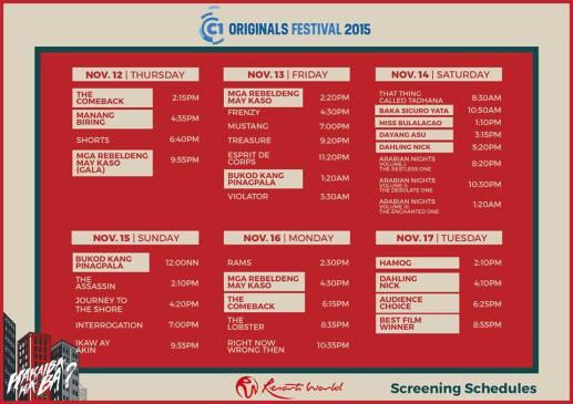 Cinema One Originals 2015 resorts world manila schedule