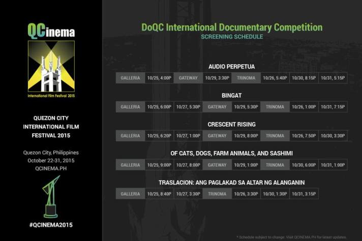 QCinema 2015 schedule Documentary Competition