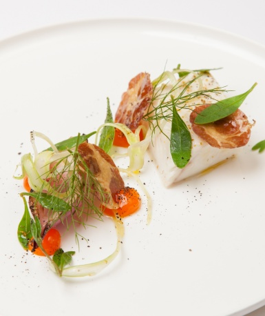 Halibut Confit Egg Coppa - BURNT