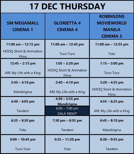 MMFF New Wave 2015 Dec 17 schedule