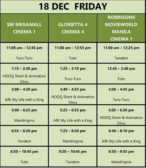 MMFF New Wave 2015 Dec 18 schedule