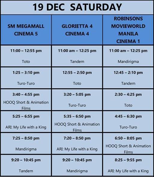 MMFF New Wave 2015 Dec 19 schedule