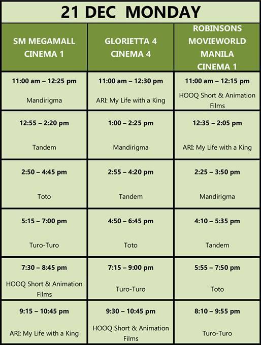 MMFF New Wave 2015 Dec 21 schedule
