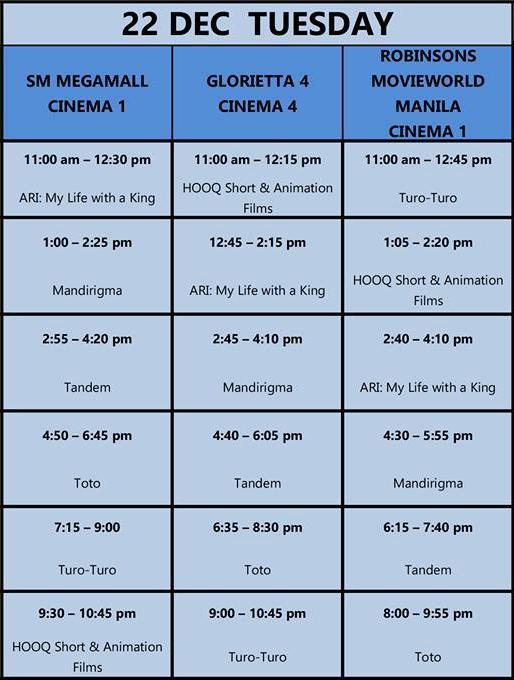 MMFF New Wave 2015 Dec 22 schedule