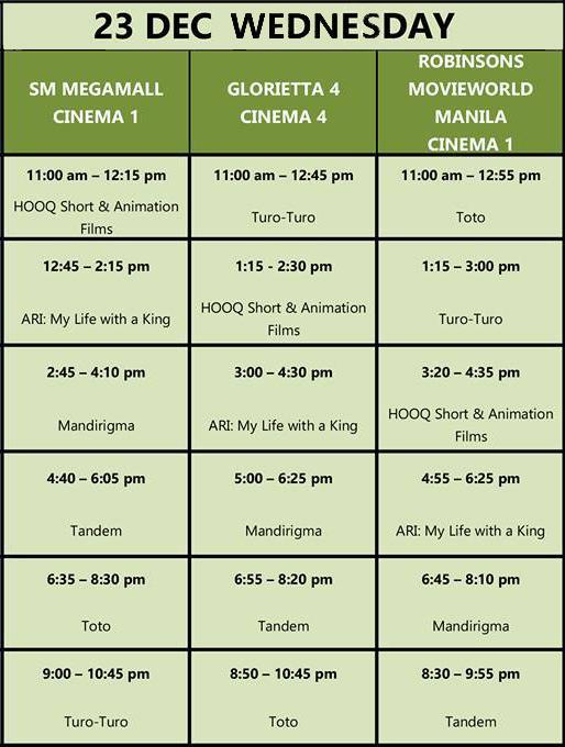 MMFF New Wave 2015 Dec 23 schedule