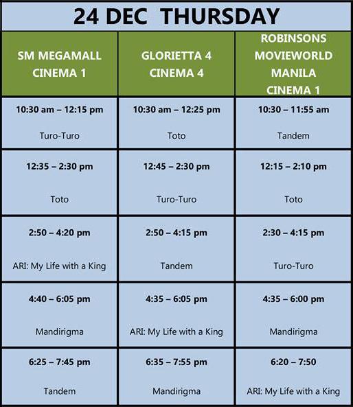 MMFF New Wave 2015 Dec 24 schedule