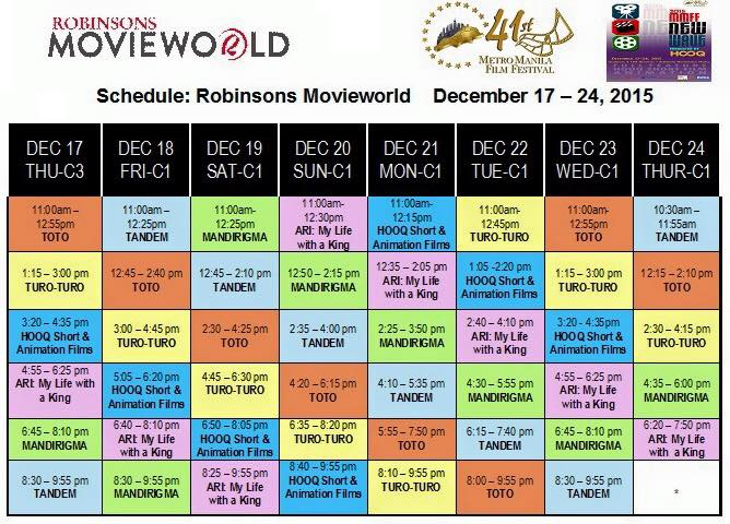 mmff new wave 2015 robinsons manila schedule