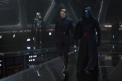 General Hux (Domnall Gleeson) and Kylo Ren (Adam Driver), in b/g Captain Phasma (Gwendoline Christie)..Ph: David James..? 2015 Lucasfilm Ltd. & TM. All Right Reserved.