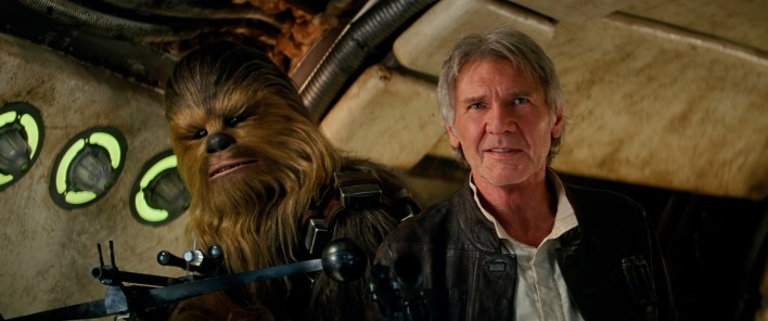 Chewbacca (Peter Mayhew) and Han Solo (Harrison Ford)..Ph: Film Frame..?Lucasfilm 2015