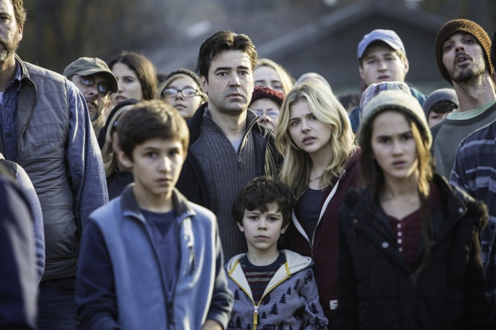 "Ron Livingston, center left, and Chloë Grace Moretz, center right, and Zackary Arthur, below center, star in Columbia Pictures' ""The 5th Wave."""