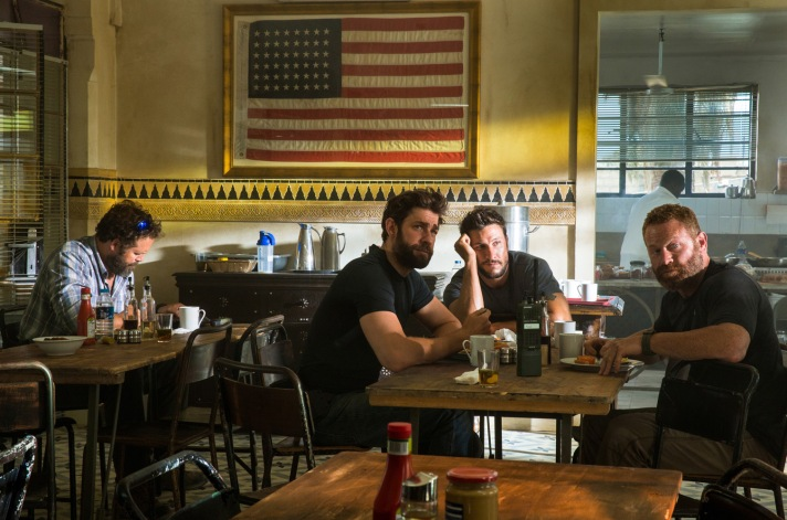 """Left to right: David Denman plays Dave """"Boon"""" Benton, John Krasinski plays Jack Silva, Pablo Schreiber plays Kris """"Tanto"""" Paronto and Max Martini plays Mark """"Oz"""" Geist in 13 Hours: The Secret Soldiers of Benghazi from Paramount Pictures and 3 Arts Entertainment / Bay Films in theatres January 15, 2016."""