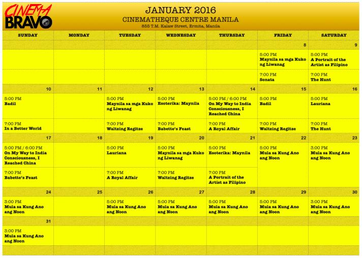 Cinematheque Centre Manila January 2016 screening schedules