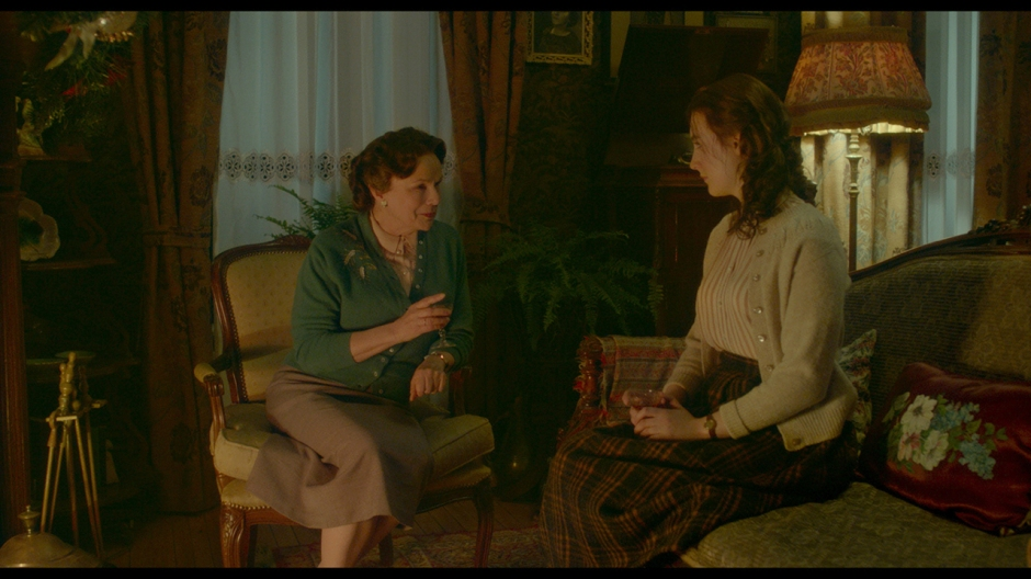 """Julie Walters as """"Mrs. Kehoe"""" and Saoirse Ronan as """"Eilis"""" in BROOKLYN. Photo courtesy of Fox Searchlight Pictures.  © 2015 Twentieth Century Fox Film Corporation All Rights Reserved"""
