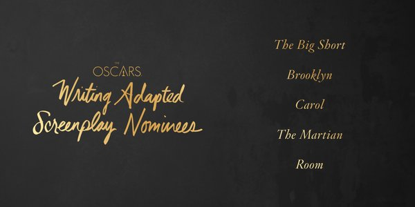 Oscars 2016 best adapted screenplay