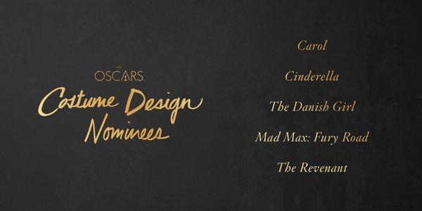 Oscars 2016 best costume design