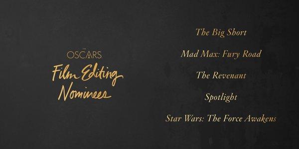 Oscars 2016 best film editing