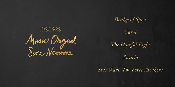 Oscars 2016 best original score