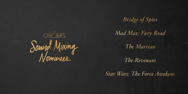 Oscars 2016 best sound mixing
