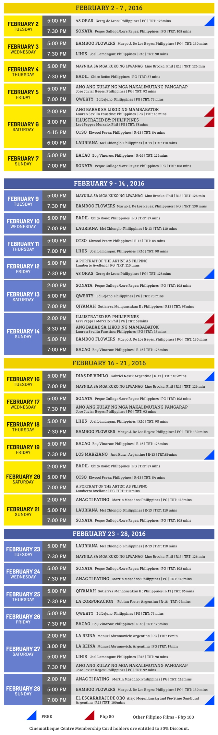 Cinematheque Centre Manila February 2016 Sched