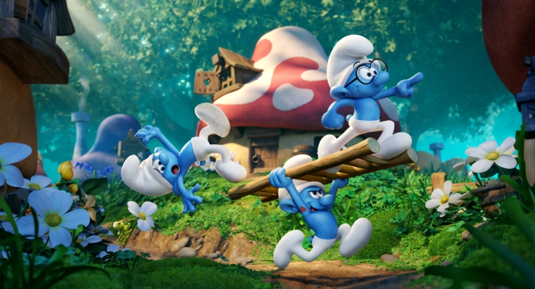 "Clumsy (voiced by Jack McBrayer), Hefty (Joe Manganiello, center) and Brainy (Danny Pudi, with glasses) in ""Smurfs: The Lost Village,"" which arrives in theaters in March 2017. (Photo Credit: Columbia Pictures)"