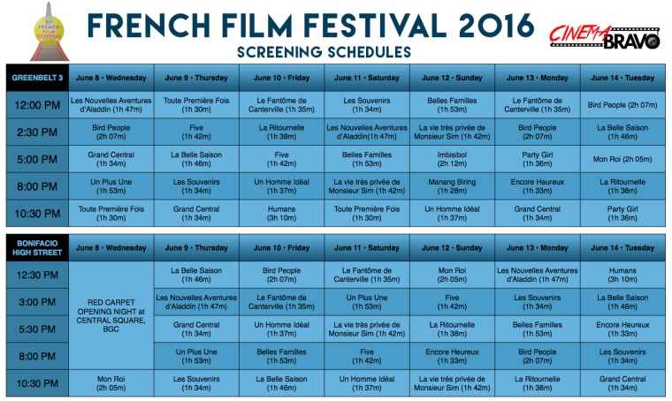 french film festival 2016 screening schedules