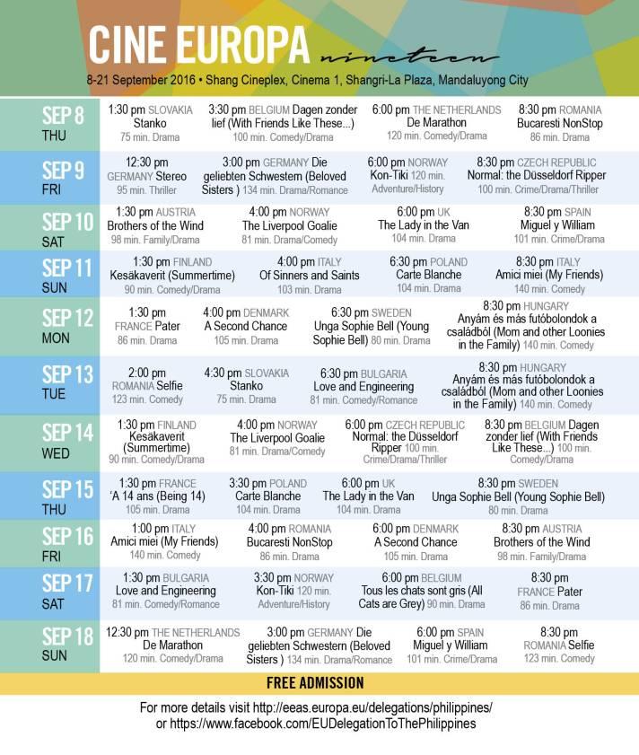 cine europa film festival 2016 schedule
