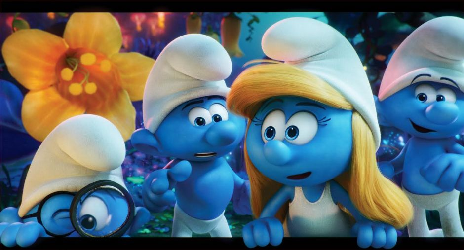 Brainy (Danny Pudi), Hefty (Joe Manganiello), Smurfette (Demi Lovato) and Clumsy (Jack McBrayer) embark on an exciting and thrilling race through the Forbidden Forest in Sony Pictures Animation's fully animated, all-new take on the Smurfs, SMURFS: THE LOST VILLAGE in theaters April 2017.