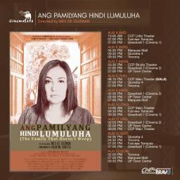 ang pamilyang hindi lumuluha cinemalaya screening schedules