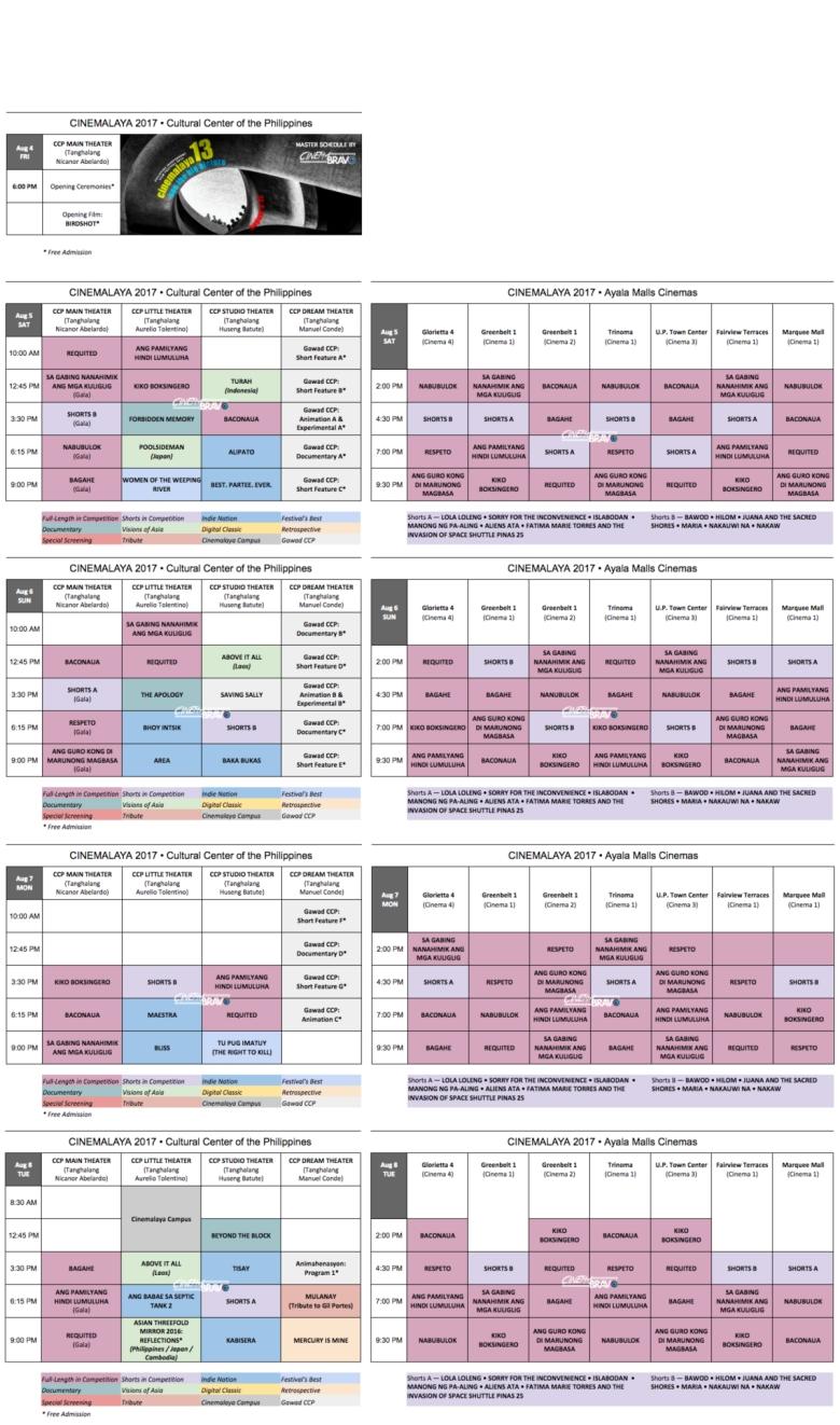 cinemalaya 2017 schedule aug 4-8